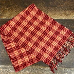 Vintage 100% Cashmere scarf, plaid, fringe